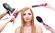 Beautiful woman and hands with brushes, scissors and hairdryer