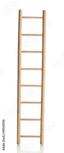 Wooden ladder, isolated on  white