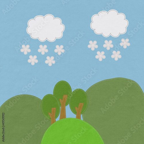 Moutain landscape in stitch style on fabric background