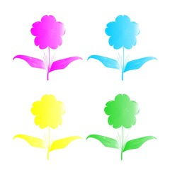 Four florets of different color on a white background,  vector