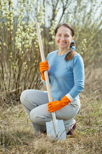 Mature gardener in spring plant