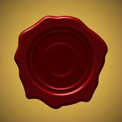 Red wax seal on gold gradient background