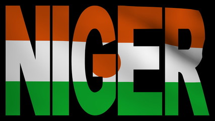 Niger text with fluttering flag animation