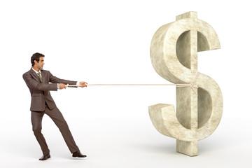 Man pulling Dollar symbol