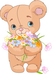 Teddy bear giving bouquet