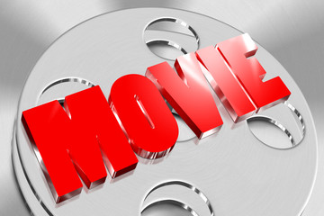 Three-dimensional movie of red on the roll of film
