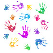 Colorful background from prints of painted hands of  family