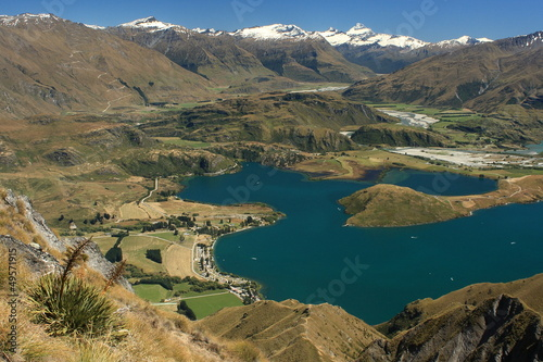 aerial view of lake Wanaka with Mt Aspiring