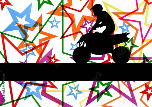 All terrain vehicle quad motorbike rider illustration colorful s