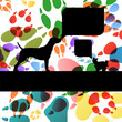 Dogs and dog footprints silhouettes colorful illustration collec