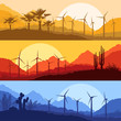 Wind electricity generators, windmills in desert palm tree and c