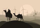 Wind electricity generators, windmills and camel caravan in arab
