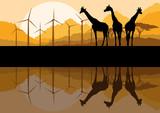 Wind electricity generators, windmills and giraffes in desert mo