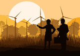 Wind electricity generators and windmills with men and women eng