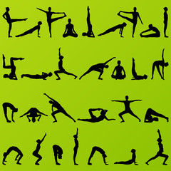 Women and girl yoga and gymnastics people silhouettes detailed i