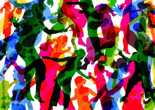 Wild colorful children jumping silhouettes with animal footprint