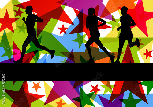 Marathon sport runners in colorful abstract star line background