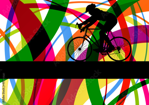 Sport road bike rider bicycle silhouette in colorful abstract li