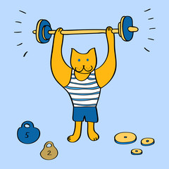 Funny cartoon bodybuilder cat on blue, vector illustration