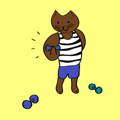 Funny cartoon bodybuilder cat on yellow, vector illustration