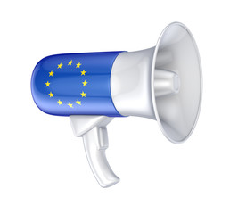 Loudspeaker with EU flag.