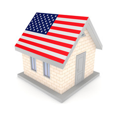 Small house with a flag of America on a roof.