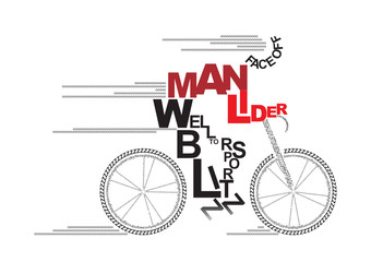 Vector text graphics concept of bike rider