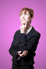 thinking success short hair business woman