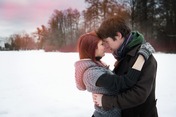 Couple in love in winter