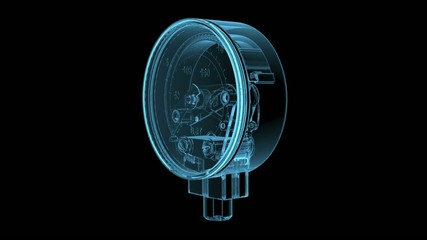 Pressure gauge (3D x-ray blue transparent isolated on black)