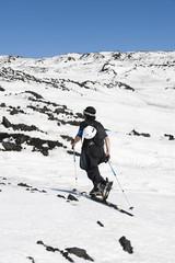 europe, italy, sicily, ski-climber on Etna