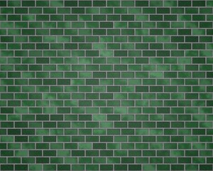 Wall with different green bricks