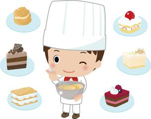 パティシエとたくさんのケーキ