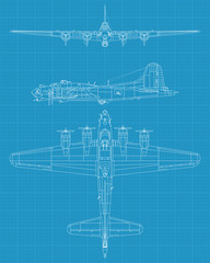 high detailed vector of old military airplane