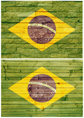 Vintage wall flag of Brazil collage