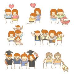 set of cartoon character of family progress