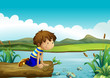 A young boy watching the fishes
