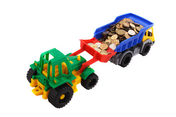 Toy truck and bulldozer