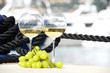 Pair of wineglasses and grapes