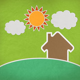 Landscape of green grass and home with stitch style on fabrix ba