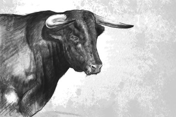 Bull tattoo illustration over rusty texture