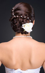 closeup of brunette bride hairstyle in studio
