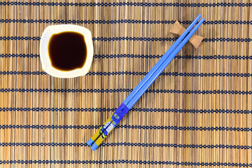 Chopsticks and soy sauce