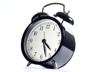Alarm clock concept time flies on white background