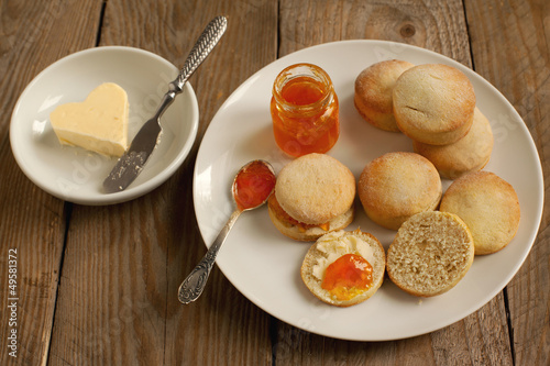 Home-baked scones tea with jam and butter