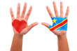 African hands with a painted heart and consolese flag, i love co