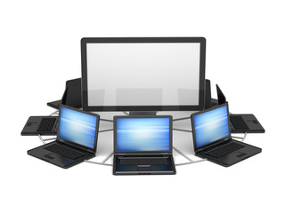 Laptops and computer monitor