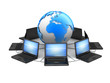 Laptops and earth globe - computer network