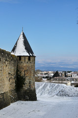 Carcassonne's tower in snow