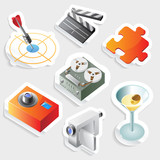 Sticker icon set for leisure
